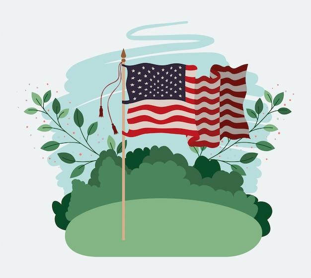 Estados unidos da américa bandeira acenando no campo