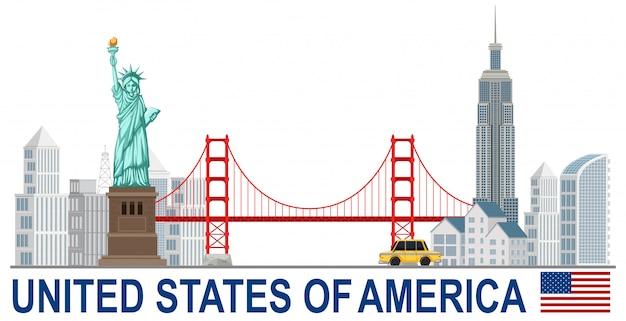 Estados unidos da américa com landamrks