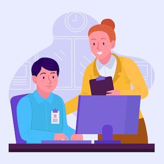 Estagiário e mentor trabalhando no escritório