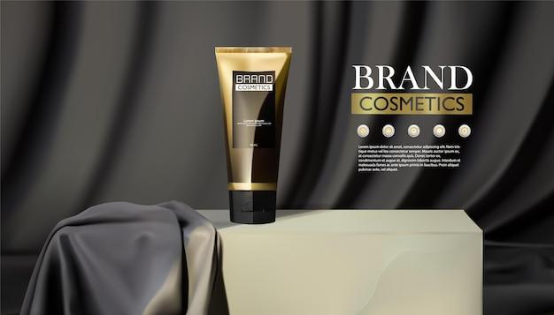 Estágio cosmético do produto para apresentação do produto frasco cosmético no pódio e fundo de tecido pretoc