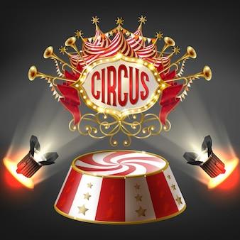 Estágio de circo realista 3d em raios brilhantes de holofotes. etiqueta com moldura de lâmpadas