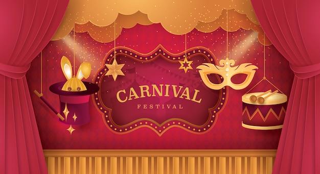 Estágio de cortinas premium com quadro de circo. feira de diversões.
