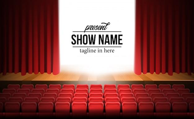 Estágio de filme de teatro de visão frontal com pano de fundo de cortina vermelha e piso de madeira e assentos vermelhos vazios