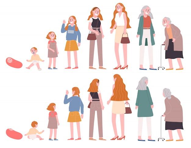 Estágio de ilustração vetorial estilo simples da mulher crescendo na frente e verso