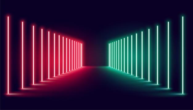 Estágio de luz de neon vermelho e verde