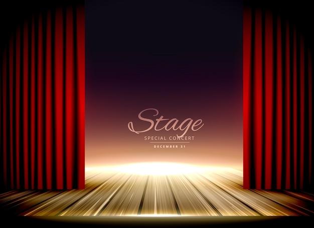 Estágio de teatro com cortinas vermelhas e piso de madeira