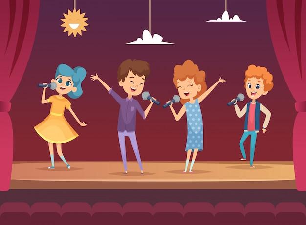 Estágio infantil. desempenho infantil no karaokê cantando fundos para meninos e meninas