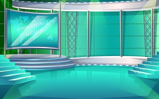 Estágio interior do estúdio do programa de tv do estilo dos desenhos animados de vetor, com duas cadeiras e tela de notícias.