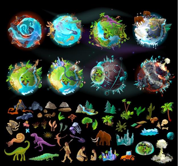 Estágios da evolução da terra, criação de desenhos animados com vários ícones coloridos, plantas e animais