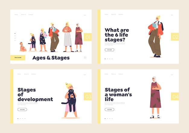 Estágios da vida do conceito de crescimento de um conjunto de páginas de destino com uma mulher crescendo de criança para senhora