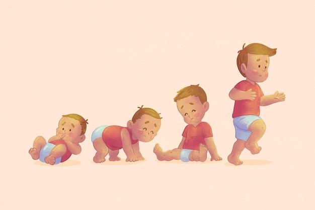 Estágios de desenho animado de um conjunto de menino