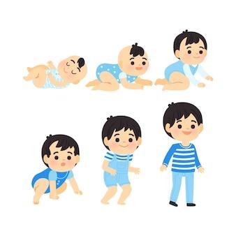 Estágios de desenho animado de um menino