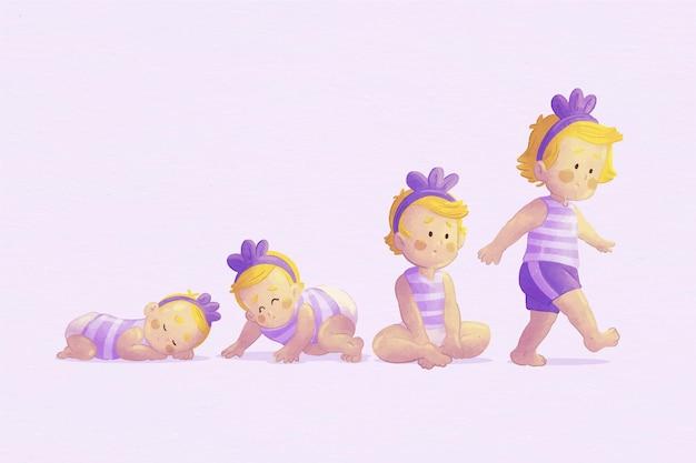 Estágios de desenho animado de um pacote de meninas
