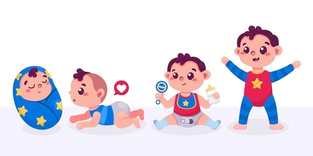 Estágios de desenho animado de uma coleção de meninos