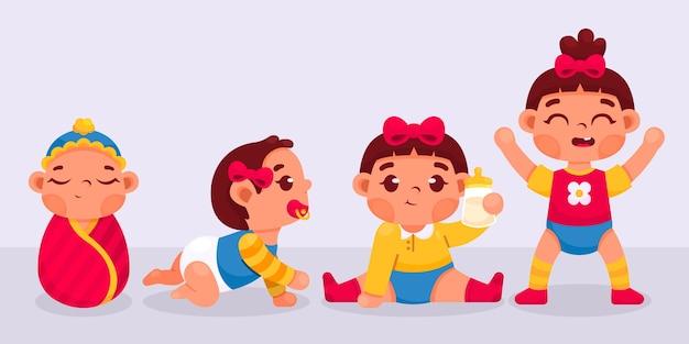 Estágios de desenho animado de uma coleção de uma menina