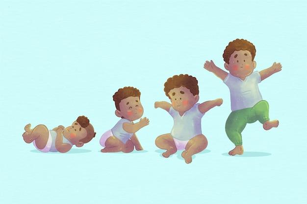 Estágios de desenho animado de uma matilha de bebês