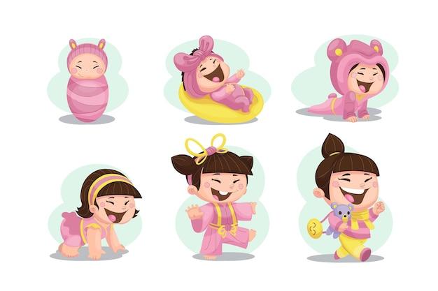 Estágios de desenho animado de uma menina