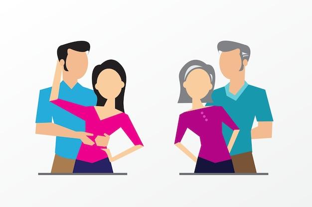 Estágios de desenvolvimento da geração familiar ilustração vetorial