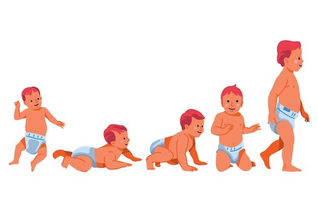 Estágios de design plano de um menino