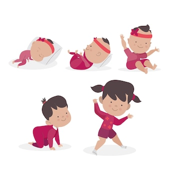 Estágios de design plano de um pacote de bebê