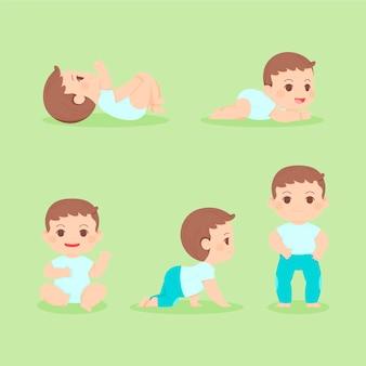 Estágios de design plano de uma ilustração de menino