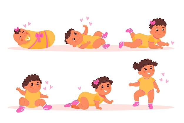 Estágios de design plano de uma ilustração de uma menina