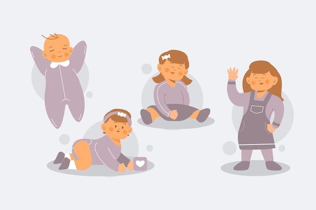 Estágios de design plano de uma menina