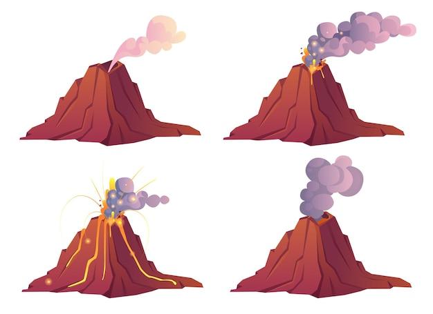 Estágios de erupção vulcânica o vulcão entra em erupção com lava quente e nuvens de fumaça