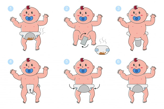 Estágios de trocar fraldas no conjunto de desenhos animados vetor bebê recém-nascido isolado