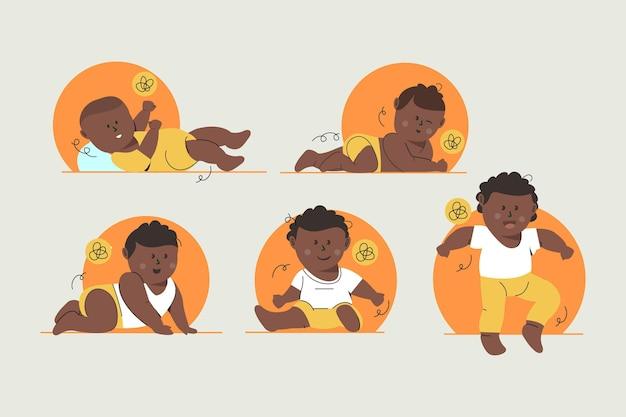 Estágios de uma ilustração de um menino