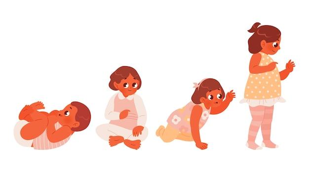 Estágios planos de um conjunto de menina