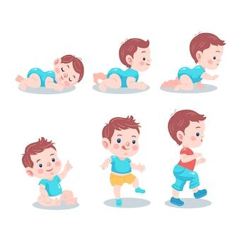 Estágios planos de um menino