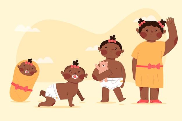 Estágios planos de uma ilustração de uma menina