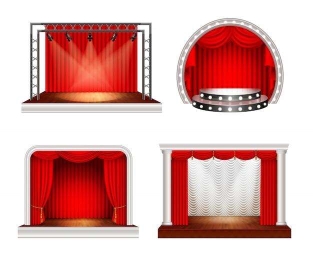 Estágios realistas com quatro imagens do palco do espaço vazio com cortinas vermelhas e ilustração vetorial de equipamento de iluminação