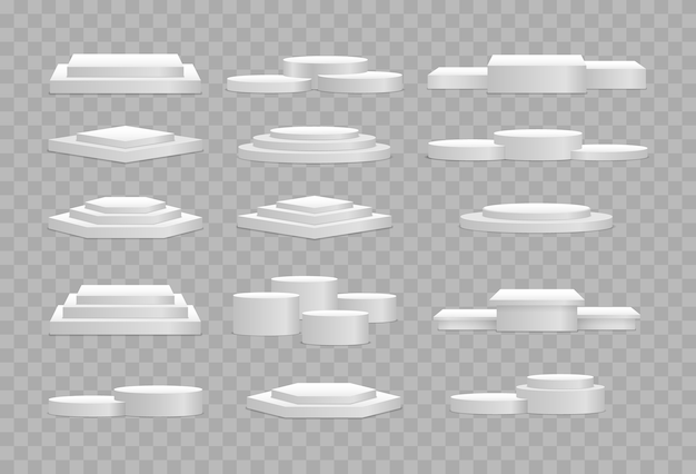 Estágios vazios redondos e quadrados e modelo 3d de escadas do pódio. maquete do pódio 3d branco em formas diferentes. pedestal e plataforma, estágio de suporte, cilindro. modelo para itens promocionais.