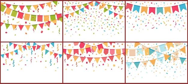 Estamenha de festa de aniversário e confetes. flâmulas de papel colorido, explosão de confettis e bandeiras de buntings