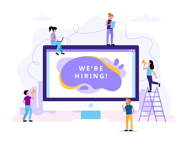 Estamos a contratar. ilustrações de conceito para recursos humanos, processo de contratação
