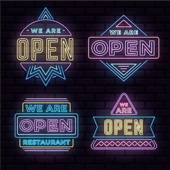 Estamos abertos - coleção de sinais de néon