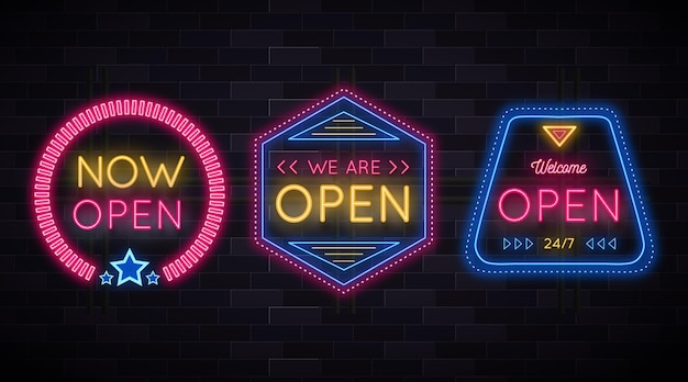 Estamos abertos e de volta ao sinal de néon comercial