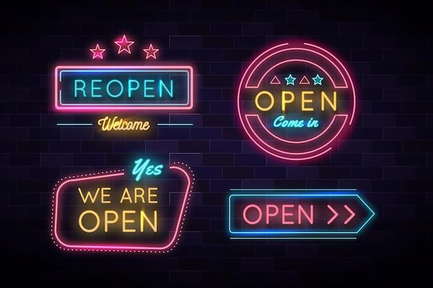 Estamos abertos e de volta no sinal de luz de néon de negócios