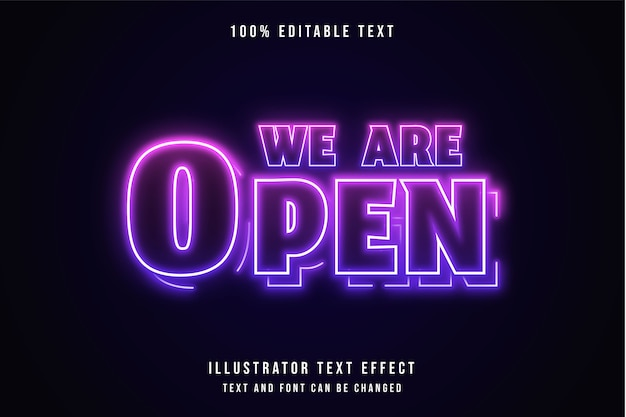 Estamos abertos, efeito de texto editável em 3d, gradação rosa e efeito neon roxo