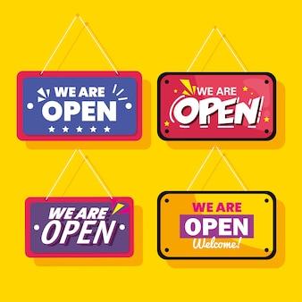 Estamos abertos, etiquetas penduradas no design de fundo amarelo