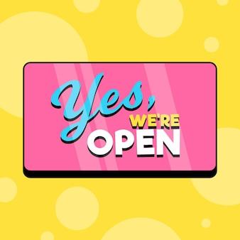 Estamos abertos no letreiro rosa