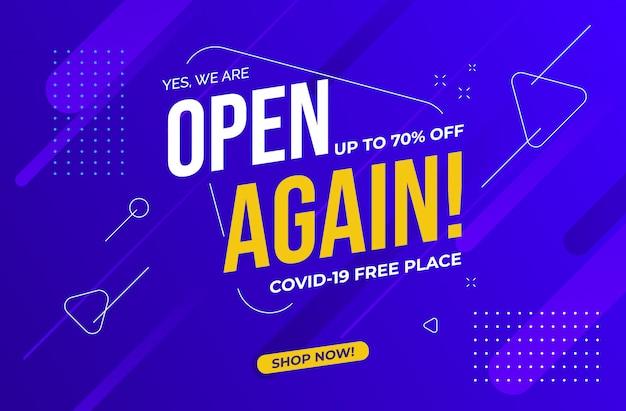 Estamos abertos novamente após o plano de venda de pandemia. lugar livre covid-19