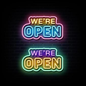 Estamos abertos, sinal de néon, símbolo de néon