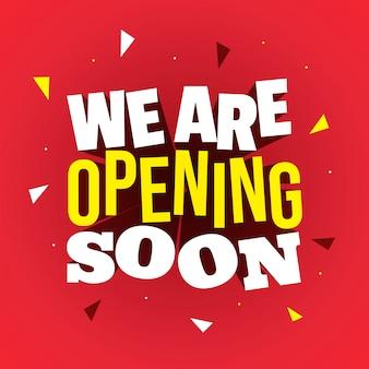Estamos abrindo em breve, lettering