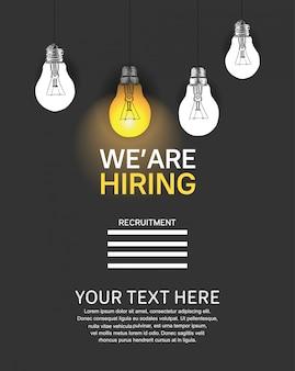 Estamos contratando cartaz conceito com ilustração de lâmpada de luz