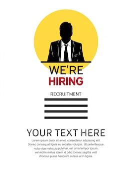 Estamos contratando cartaz de design de emprego com mão de ícone do homem desenhada