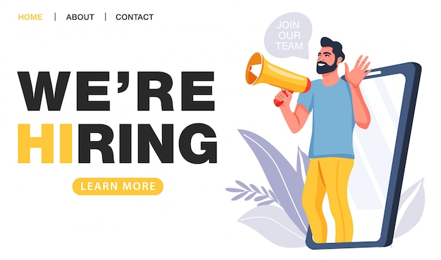 Estamos contratando conceito. agência de recrutamento.