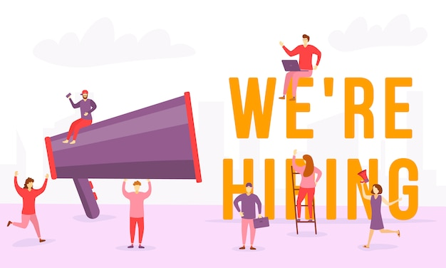 Estamos contratando conceito com personagens. pessoas que procuram funcionários com as palavras que estamos contratando. as pessoas gritam no megafone. pode usar para banner da web, aplicativo móvel, imagens de herói. ilustração, .
